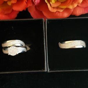 HIS & HERS (3 piece) Wedding Set 14kt Bridal SS